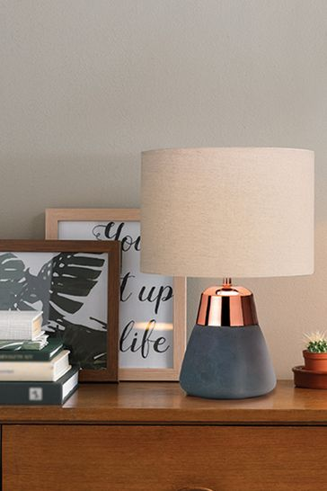 Village At Home Jasper Charcoal And Copper Table Lamp