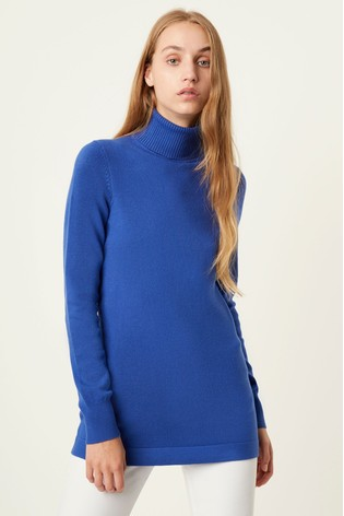 French Connection Blue T-Neck Slim Fit Tunic