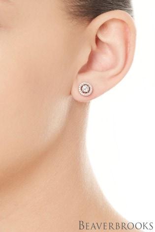 Beaverbrooks Silver Rose Gold Cubic Zirconia Stud Earrings