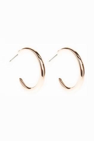 Rose Gold Tone Organic Hoop Earrings