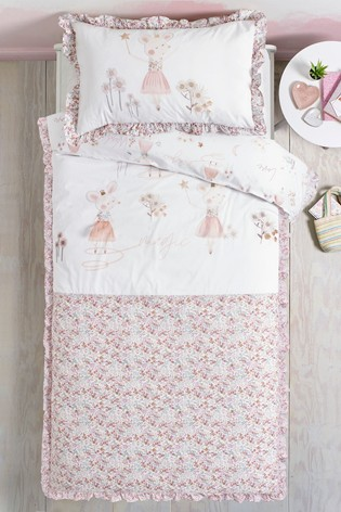 Mabel Mouse Embroidered Duvet Cover and Pillowcase Set
