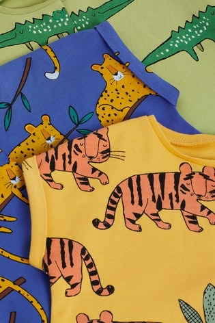 Bright Animals 3 Pack Printed Popper Rompers (0mths-3yrs)