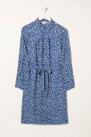 FatFace Blue Bernie Dappled Mark Make Dress