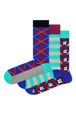 Happy Socks Purple Argyle Socks Three Pack