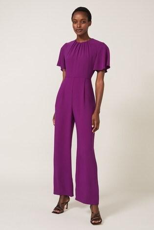 Phase Eight Purple Andela Fluted Sleeve Jumpsuit