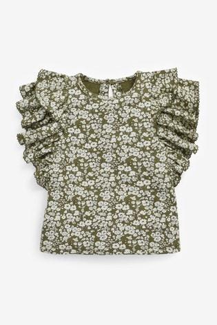 Khaki Floral Frill Sleeve Vest (3mths-7yrs)