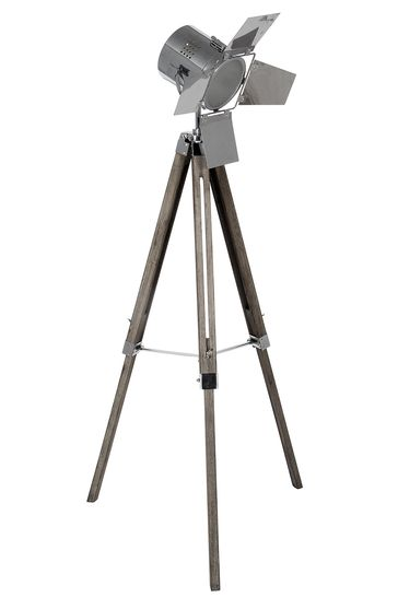 Hereford Grey Wood and Silver Metal Film Tripod Floor Lamp by Pacific