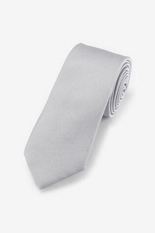 Silver Slim Twill Tie