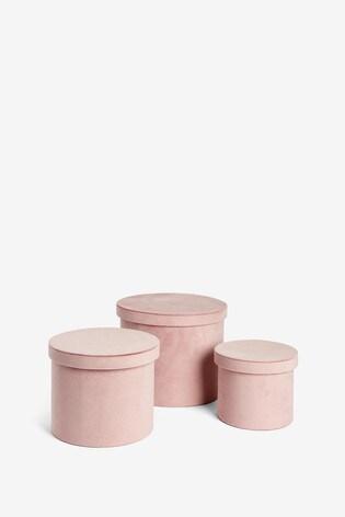 Set of 3 Velour Storage Boxes
