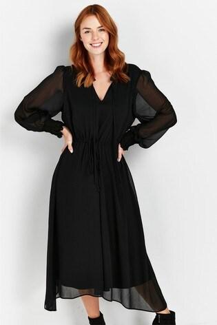 Wallis Black Tie Neck Hanky Hem Midi Dress