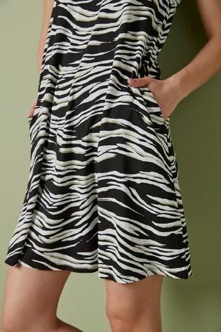 Zebra Print Sleeveless Pocket Dress