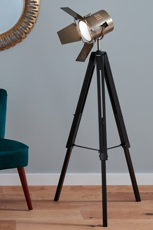 Hereford Black Wood Antique Brass Metal Tripod Floor Lamp by Pacific