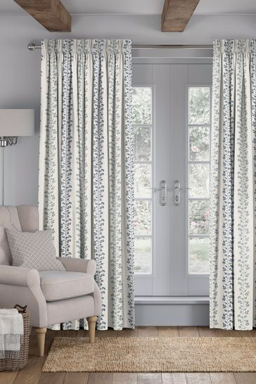 Georgia Navy Natural Made To Measure Curtains