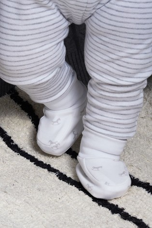 The Little Tailor White Rocking Horse Jersey Booties