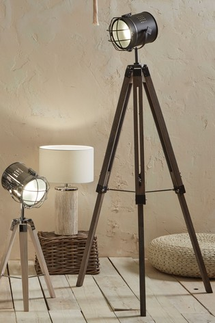 Bullseye Grey Metal Antique Wood Tripod Marine Floor Lamp by Pacific