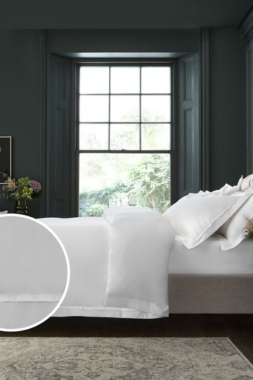 White 1000 Thread Count 100% Cotton Sateen Collection Luxe Duvet Cover and Pillowcase Set