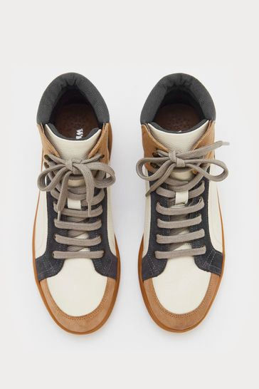 White Stuff Black Leather And Suede High Top