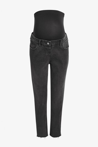 Washed Black Maternity Straight Jeans