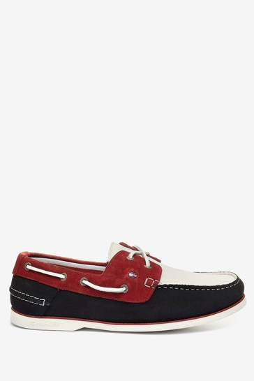 Tommy Hilfiger Red Classic Suede Boat Shoes