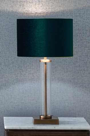 Keva Clear Glass and Antique Brass Table Lamp by Pacific