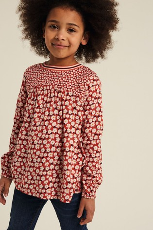 FatFace Red Daisy Mix And Match Blouse