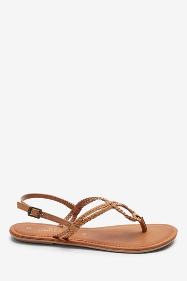 Tan Regular/Wide Fit Forever Comfort® Double Plait Toe Thong Sandals