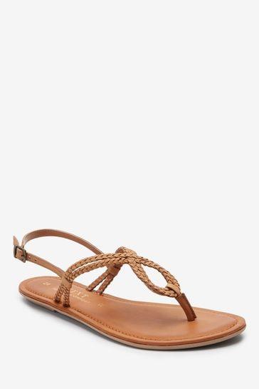 Tan Regular/Wide Fit Forever Comfort® Double Plait Toe Thong Sandals