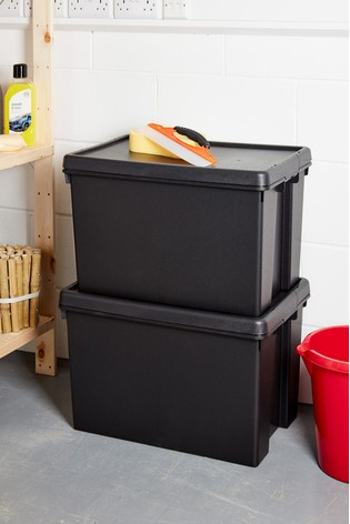 Set of 2 Wham Bam 62L Heavy Duty Plastic Recycled Boxes With Lid