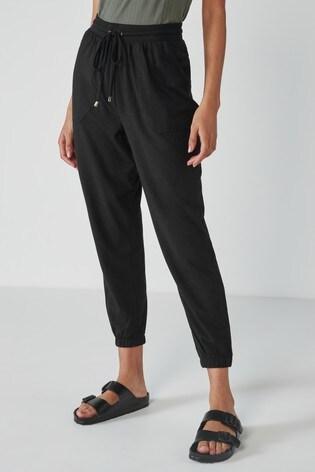 Black Button Detail Jersey Joggers