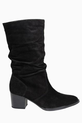 Gabor Ramona Black Suede Calf Length Fashion Boots