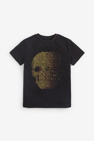 Black Skull Graphic T-Shirt (3-16yrs)