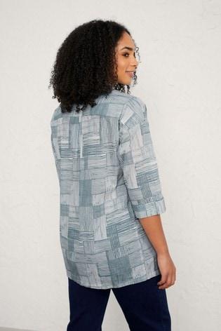 Seasalt Cornwall Grey Linear Check Dark Iron Ethereal Shirt