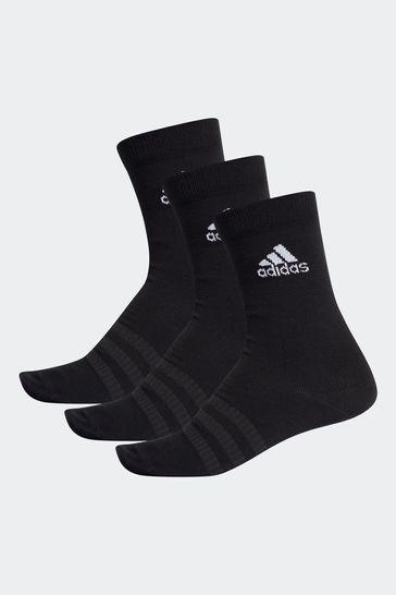 adidas Kids Black Lightweight Crew Socks Three Pack