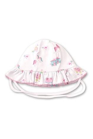 Kissy Kissy White Unicorn Castle Frilly Sun Hat