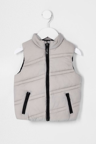 River Island Grey Light Diagonal Quilted Gilet