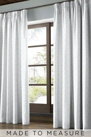 Woven Acorn Cup Mid Powder Blue Made to Measure Curtains by Orla Kiely