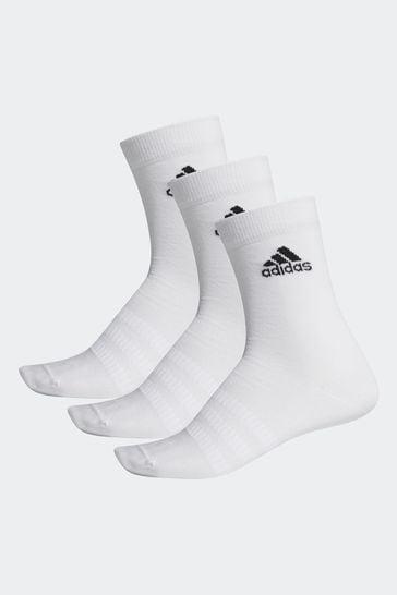 adidas Adult White Lightweight Crew Socks Three Pack
