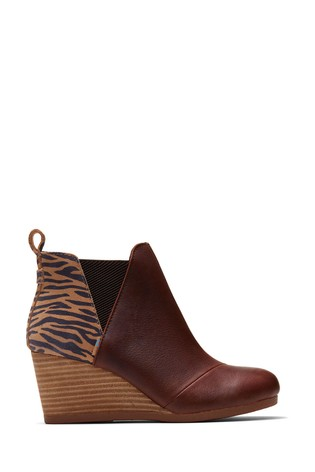 TOMS Kelsey Brown Animal Wedge Boots