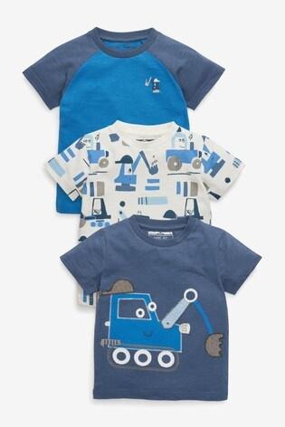Blue Digger 3 Pack T-Shirts (3mths-7yrs)