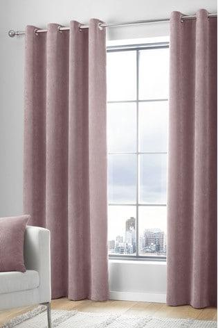 Curtina Blush Cord Eyelet Curtains