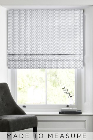 Woven Geo Light Grey Made To Measure Roman Blind