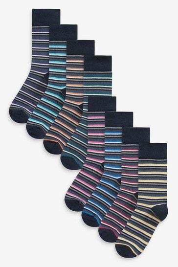 Charcoal Stripe 8 Pack Pattern Socks