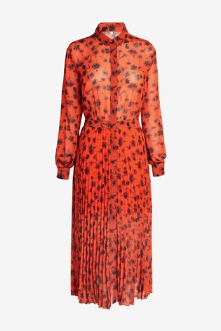 Next/Mix Print Pleated Shirt Dress
