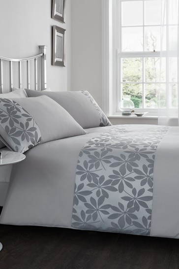 Catherine Lansfield Grey Ivory Leaf Duvet Cover and Pillowcase Set