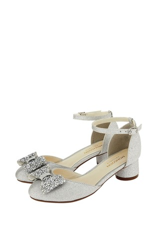 Monsoon Silver Piper Dazzle Bow Two Part Jazz Heels