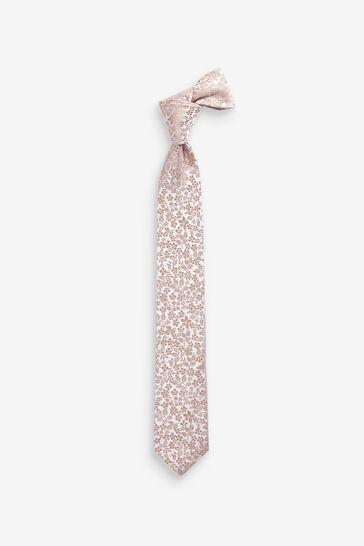 Champagne Floral Silk Tie (1-16yrs)