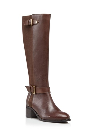 Dune London Tilda Brown Buckle Strap Boots