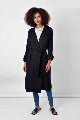 Ro&Zo Black Tencel™ Trench Coat