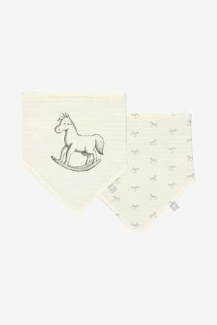 The Little Tailor Cream Rocking Horse Jersey Bibs Two Pack
