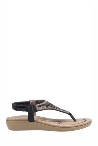Fleet & Foster Black Lianne Slip-On Sandals